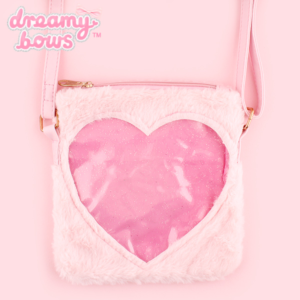 69d3c9c1ce03 Buy Dreamy Bows Fur Heart Window Small Shoulder Bag - Pink at Dreamy ...