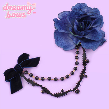 Gothic Rose Beaded 2-Way Clip - Blue