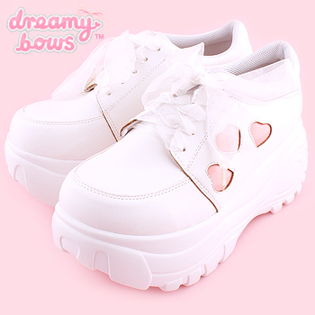 Heart Chunky Platform Trainers - White