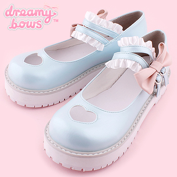 Heart Cutout Shoes with Frilly Strap - Blue