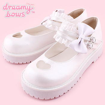 Heart Cutout Shoes with Frilly Strap - White