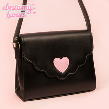 Heart Envelope Scallop Bag - Black