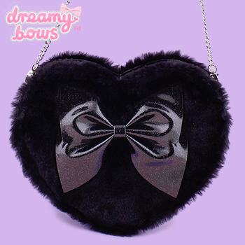 Heart Shaped Fur Glitter Bow Bag - Black