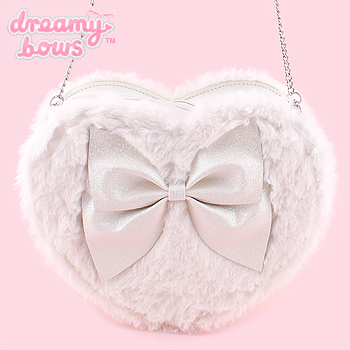 Heart Shaped Fur Glitter Bow Bag - White