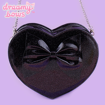Heart Shaped Holographic Glitter Bag - Black
