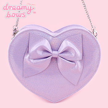 Heart Shaped Holographic Glitter Bag - Purple