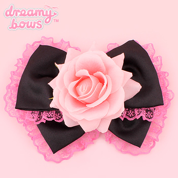 Hime Dreams Black x Pink Rose Bow Hair Clip