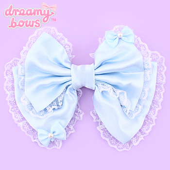 Hime Dreams Bows on Bow Hair Clip - Blue