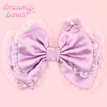 Hime Dreams Bows on Bow Hair Clip - Lavender
