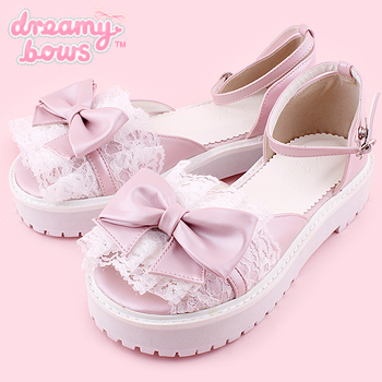 Lace Bow Flat Sandals Shoes - Pink
