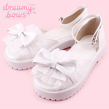 Lace Bow Flat Sandals Shoes - White