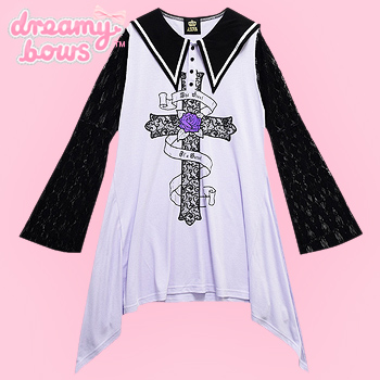 Lace Sleeves Gothic Cross Sailor Collar Dress - Lav