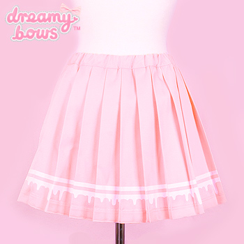 Blood Drip Pleated Skirt - Pink