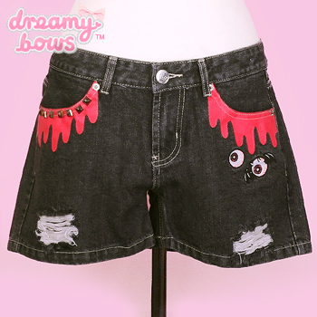 Blood Drip Denim Shorts - Black