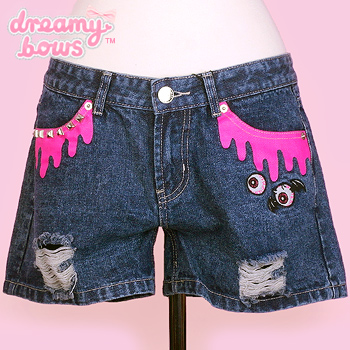 Blood Drip Denim Shorts - Blue