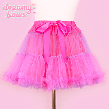 Tulle Tiered Ribbon Tutu Skirt - Pop