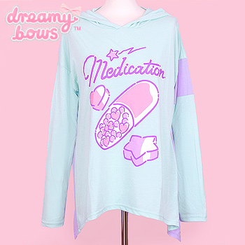 Medication Pill Hoodie Top - Mint
