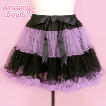 Frilly Tiered Skirt - Black x Lavender