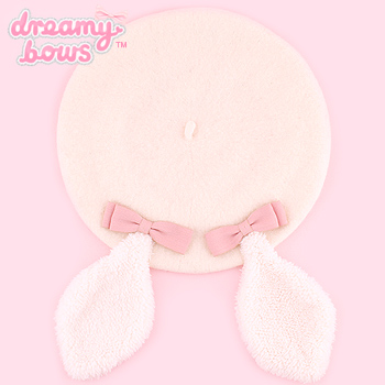 Kawaii Long Bunny Ear Beret with Bows - White