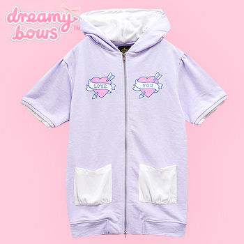 Love Heart Short Sleeve Cat Ear Zipped Parka - Lavender