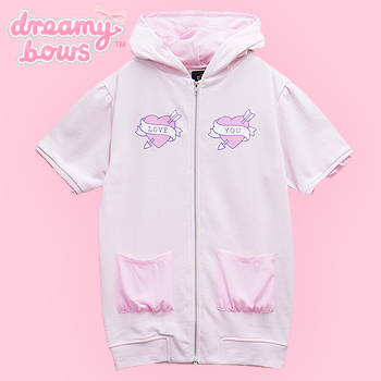Love Heart Short Sleeve Cat Ear Zipped Parka - Pink