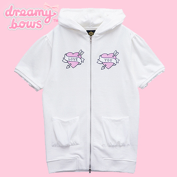 Love Heart Short Sleeve Cat Ear Zipped Parka - White