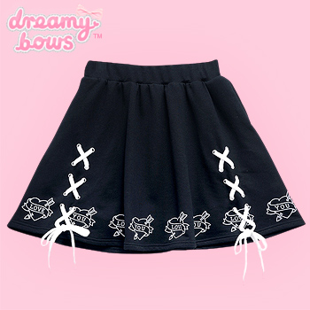 Love Heart Lace Up Circle Skirt - Black