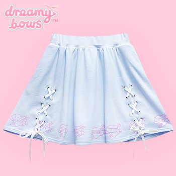 Love Heart Lace Up Circle Skirt - Blue