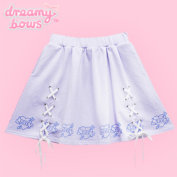 Love Heart Lace Up Circle Skirt - Lavender