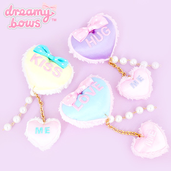 Candy Love Hearts Dangly 2-Way Clip