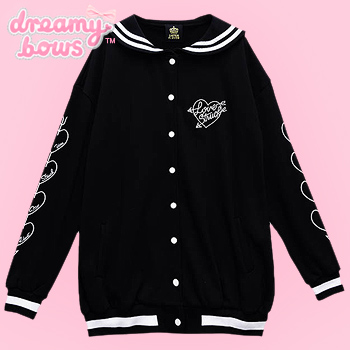 Love Struck Sailor Collar Jacket - Black