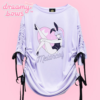 Melancolic Bunny Girl Shirring Top - Lav