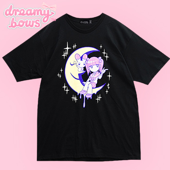 Menhera Chan Moonlight Big T-Shirt - Black