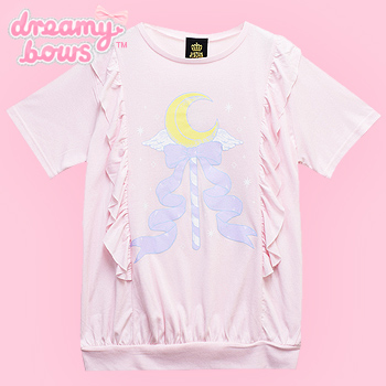 Magical Moon Stick Frill Cutsew Top - Pink