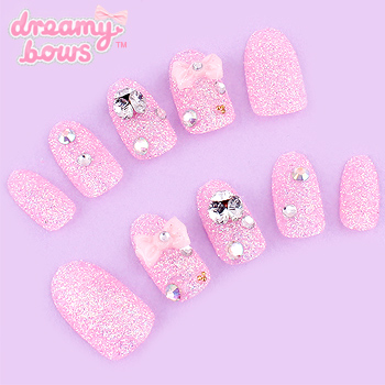 Pink Glitter Bows & Gems Deco False Nail Set