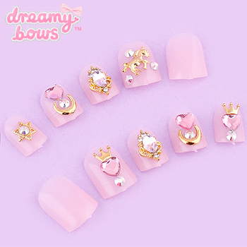 Pink with Moon, Crown & Unicorn Deco False Nail Set
