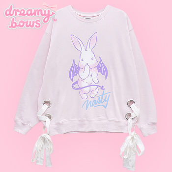 Nasty Bat Bunny Lace Up Sweater - Pink