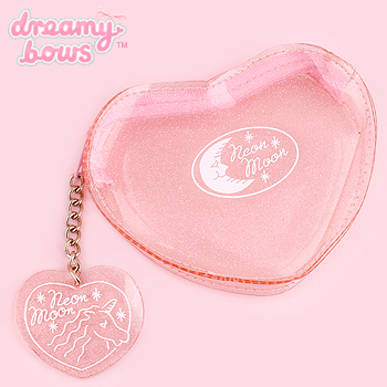Clear Heart Shaped Cosmetic Pouch - Pink Glitter