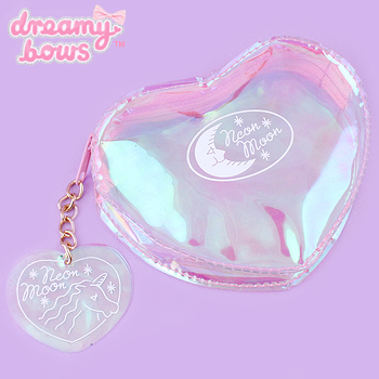 Clear Heart Shaped Cosmetic Pouch - Holographic