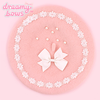 Pearl & Bow Beret - Pink