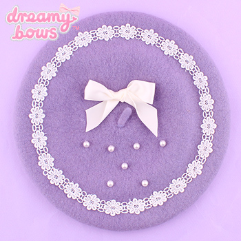 Pearl & Bow Beret - Purple