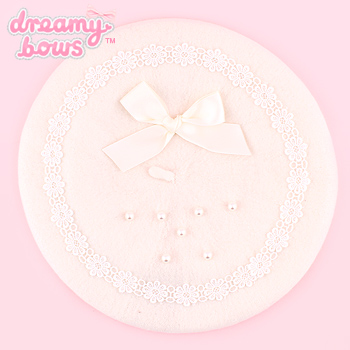 Pearl & Bow Beret - White
