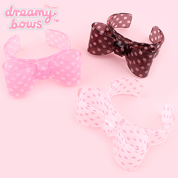 Polka Dot Clear Plastic Bow Bangle