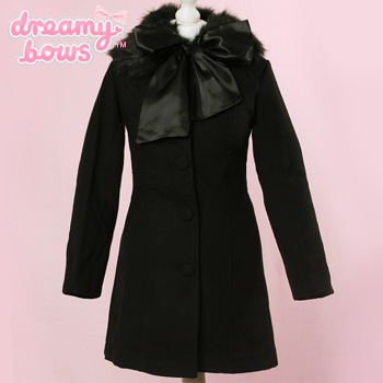 Princess Lace Ruffle Coat - Black