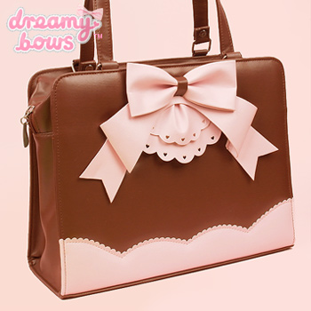 Ruffle Ribbon Tote Bag - Brown