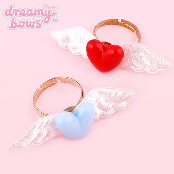 Satin Angel Wing Plastic Heart Ring