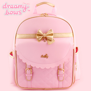 Scalloped Gold Trim Bow Backpack - Pink
