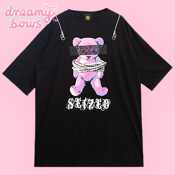 Seized Bear Shoulder Zip Big Top - Black x Pink