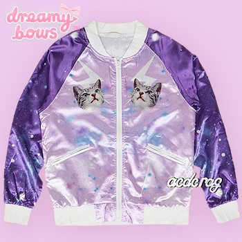 Geometric Space Cat Sukajan Baseball Jacket - Purple