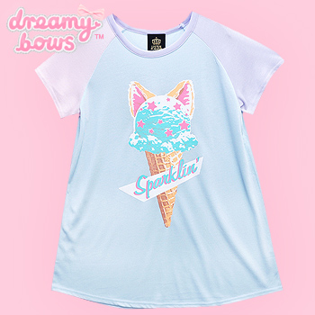Sparklin' Ice Cream Cat Raglan Cutsew - Blue
